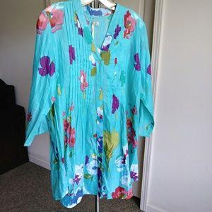 Antica Sartoria blue floral long blouse